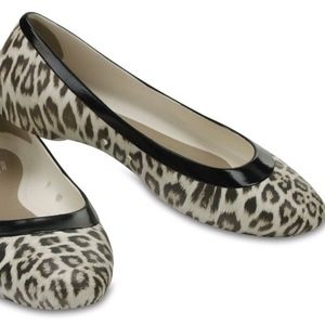 NEW Crocs Lina Oyster Graphic Ballet Leopard Flat